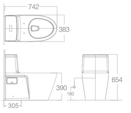 Bản vẽ kỹ thuật bồn cầu American Standard VF-1808E