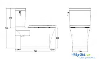 Bản vẽ kỹ thuật bồn cầu American Standard VF-2781