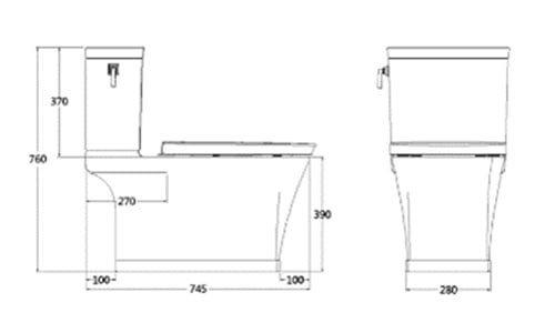 Bản vẽ kỹ thuật bồn cầu 1 khối American Standard WP-2025 dòng kastello