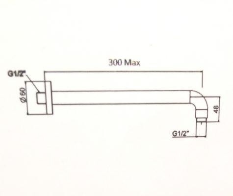 FFAS9909-bản-vẽ-thanh-nối-đầu-sen-Easyset-american-standard