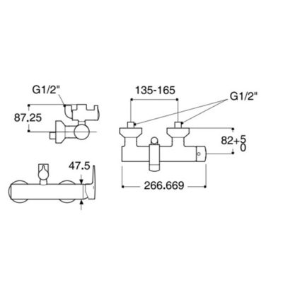 WF-0572 bản vẽ Vòi trộn nước dành cho cây sen phun mưa american standard