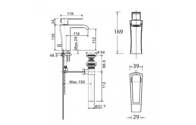 WF-0601-bản-vẽ-kỹ-thuật-vòi-chậu-rửa-mặt-american-standard