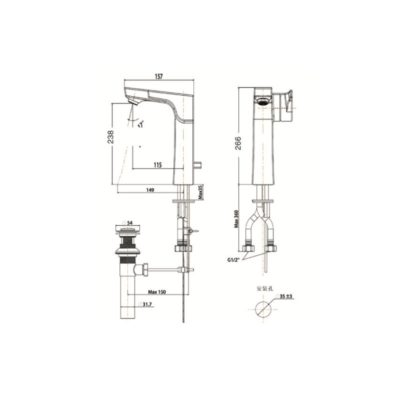 WF-0802-bản-vẽ-kỹ-thuật-vòi-chậu-rửa-mặt-american-standard
