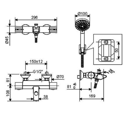 WF-4946 bản vẽ vòi sen tắm nhiệt độ american standard