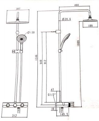 WF-4955 bản vẽ bộ sen cảm biến nhiệt độ easyset american standard