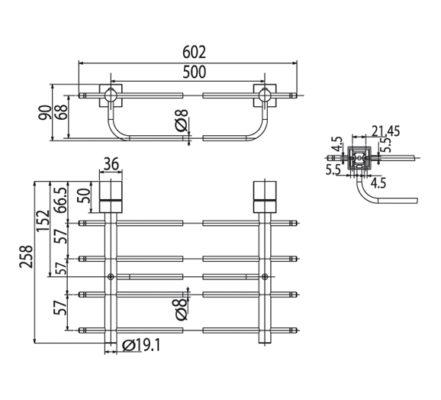 WF-6587 bản vẽ kỹ thuật kệ khăn 2 tầng american standard