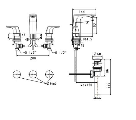 wf-1703 bản vẽ kỹ thuật vòi chậu 3 lỗ american standard