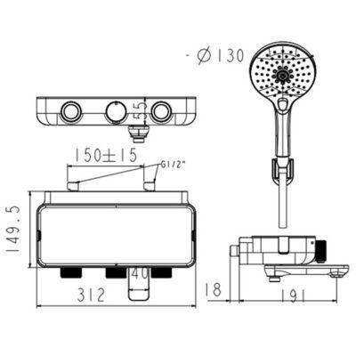 wf-4954 bản vẽ vòi sen tắm cảm biến nhiệt american standard
