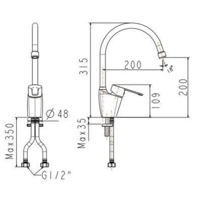 wf-5623 bản vẽ kỹ thuật vòi bếp american standard