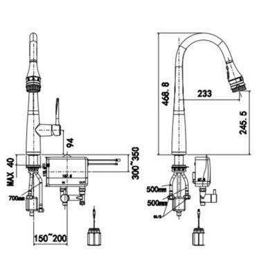 wf-5644 bản vẽ kỹ thuật vòi bếp cảm ứng american standard