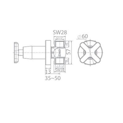 wf-t705 bản vẽ kỹ thuật vòi sen tắm lạnh âm tường american standard