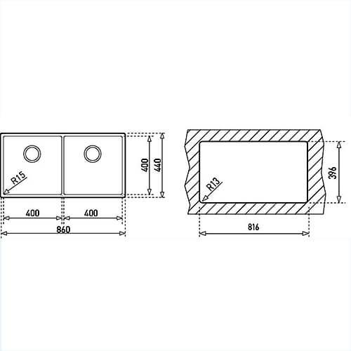 Bản Vẽ Kỹ Thuật Chậu Rửa Bát TEKA LINEA R15 2B 860