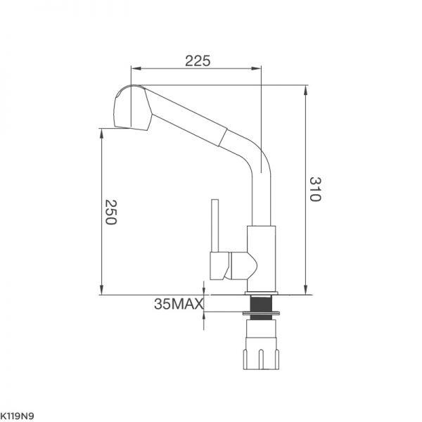 Bản Vẽ Kỹ Thuật Vòi Rửa Bát Malloca K119N9