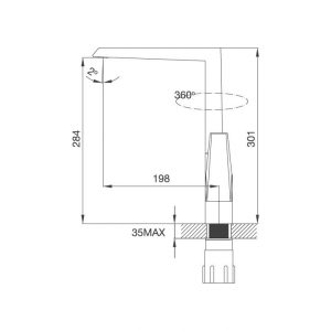 Bản Vẽ Kỹ Thuật Vòi Rửa Bát Malloca K291C