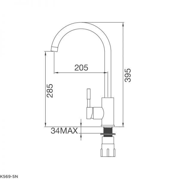 Bản Vẽ Kỹ Thuật Vòi Rửa Bát Malloca K569-SN
