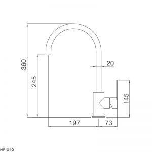 Bản Vẽ Kỹ Thuật Vòi Rửa Bát Malloca MF-040