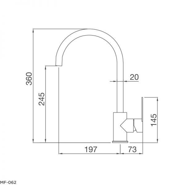 Bản Vẽ Kỹ Thuật Vòi Rửa Bát Malloca MF-062