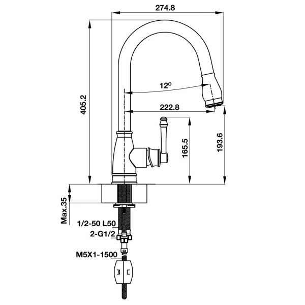 Bản vẽ kỹ thuật vòi chậu rửa bát Hafele AUGUSTUS HT-C194 570.51.020