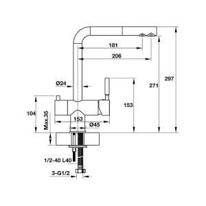Bản vẽ vòi chậu rửa bát Hafele MARCUS HT-C271 570.51.060