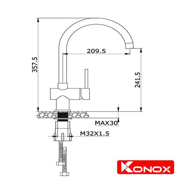 Bản Vẽ Kỹ Thuật Vòi Chậu KONOX KN1206