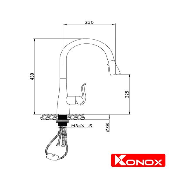 Bản Vẽ Kỹ Thuật Vòi Chậu KONOX KN1902
