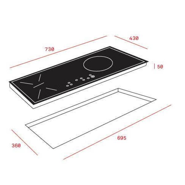 Bản vẽ kỹ thuật bếp điện từ Teka HIS 6021S