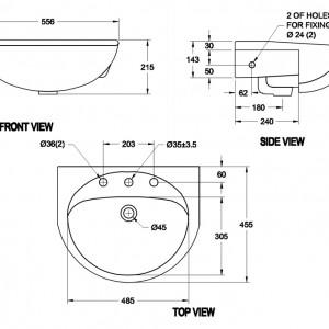 Chậu Rửa Mặt Lavabo American Standard 0518-WT Âm Bàn Dòng Paramount