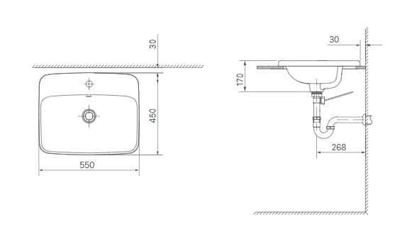 Chậu Rửa Mặt Lavabo dương vành Inax AL-2398V