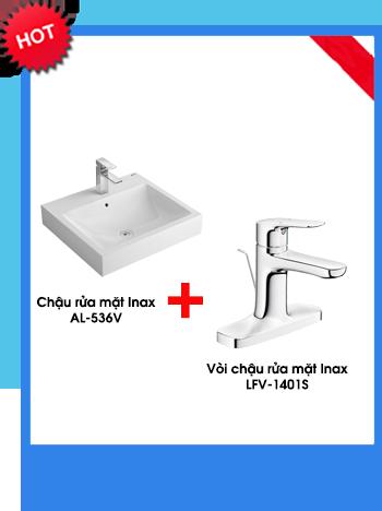 Chậu Rửa Lavabo Đặt Bàn Inax AL-536V + Vòi Rửa LFV-402S