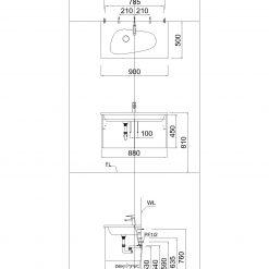 Chậu Rửa Lavabo Liền Bàn CAESAR LF5368
