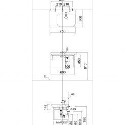 Chậu Rửa Lavabo Liền Bàn CAESAR LF5374