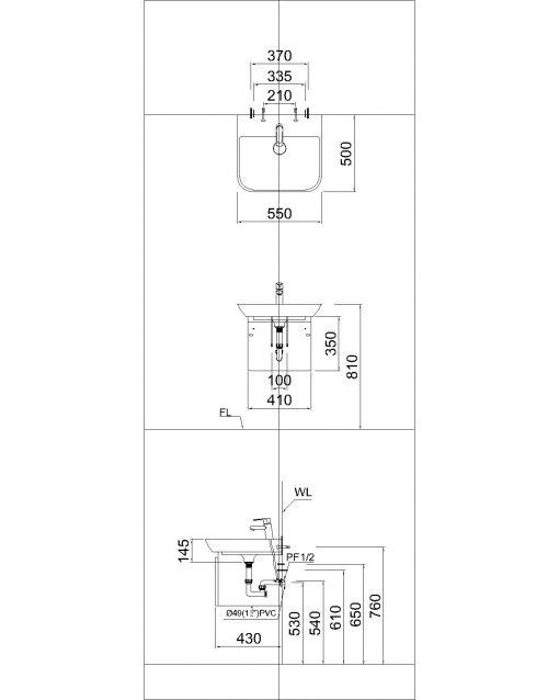 Tủ đặt chậu rửa mặt lavabo Caesar EH052V treo tường