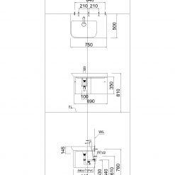 Tủ đặt chậu rửa mặt lavabo Caesar EH063LV treo tường