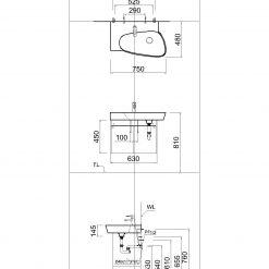 Tủ đặt chậu rửa mặt lavabo Caesar EH065V treo tường