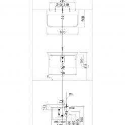 Tủ đặt chậu rửa mặt lavabo Caesar EH071V treo tường