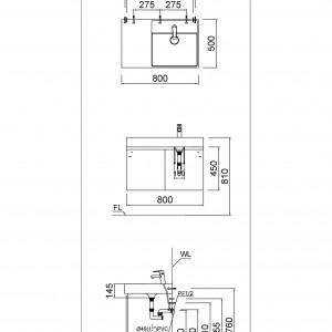 Tủ đặt chậu rửa mặt lavabo Caesar EH0100V treo tường