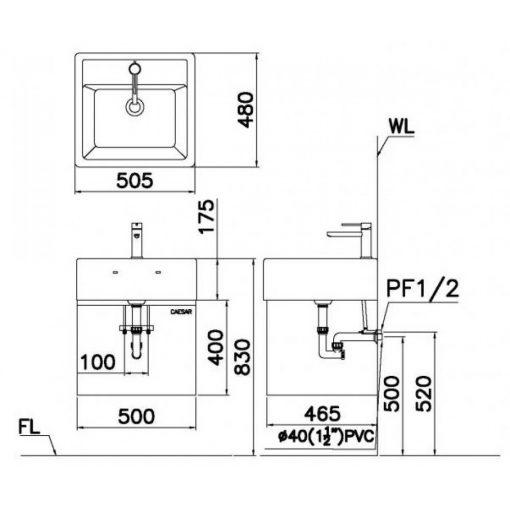 Tủ đặt chậu rửa mặt lavabo Caesar EH150V treo tường