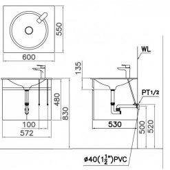 Tủ đặt chậu rửa mặt lavabo Caesar EH151V treo tường