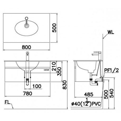 Tủ đặt chậu rửa mặt lavabo Caesar EH680V treo tường