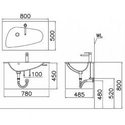 Tủ đặt chậu rửa mặt lavabo Caesar EH781V treo tường