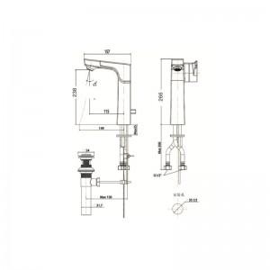 Vòi chậu Lavabo American Standard WF-0802 Nóng Lạnh Cổ Cao