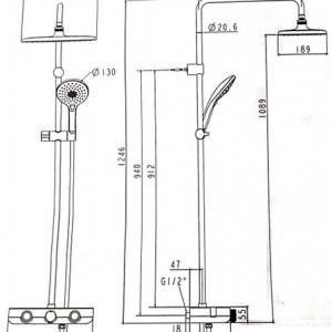 Bộ Sen Cây Cảm Biến Nhiệt Độ American Standard WF-4955 Dòng Easyset