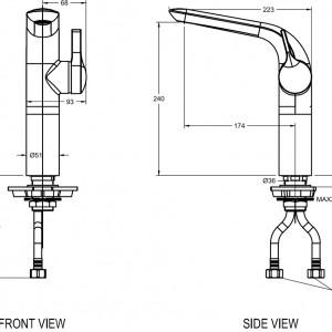 Vòi chậu Lavabo American Standard WF-6802 Nóng Lạnh Cổ Cao