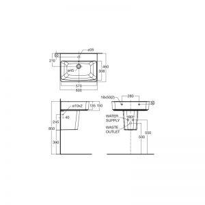Chậu Rửa Lavabo Treo Tường American Standard Acacia E 0507W-WT/0707-WT Chân Ngắn