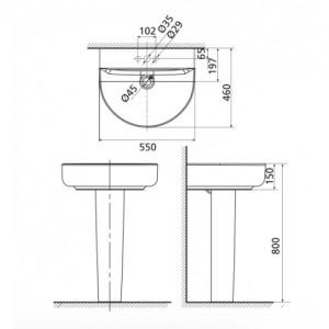 Chậu Lavabo Treo Tường American Standard 0553-WT/0742-WT Chân Dài