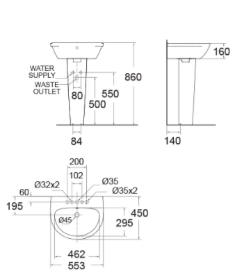 Chậu Lavabo Treo Tường American Standard 0953-WT/WP-F711 Chân Dài