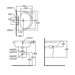 Chậu Lavabo Treo Tường American Standard 0953-WT/WP-F712 Chân Ngắn