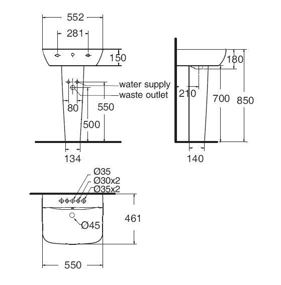 Chậu Lavabo Treo Tường American Standard WP-1511/WP-F712 Chân Ngắn