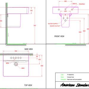 Chậu Lavabo Treo Tường American Standard WP-F550/0740-WT Chân Ngắn