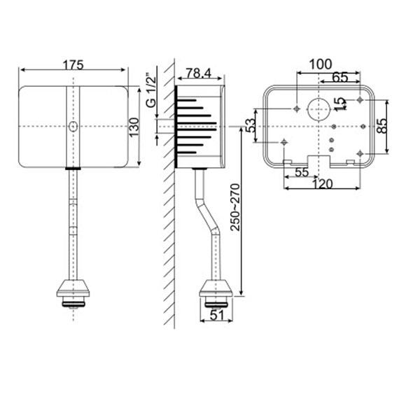 Van Xả Tiểu Cảm Ứng American Standard WF-8619 Dùng Điện